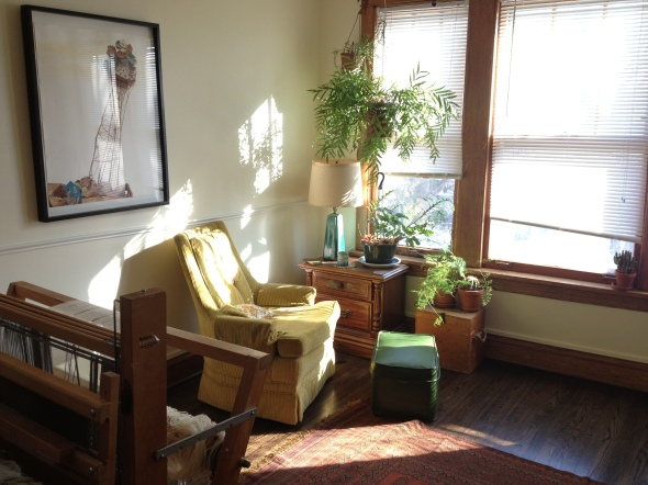 "Living Room: Amy Casey's original ""Hive"" painting and my loom."