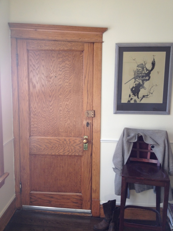 Welcome: my charmingly crooked door and a Graham Franciose original drawing.