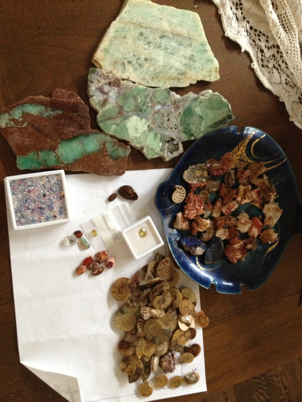 ammonites, opals, agates, sapphires, sphene for use in the up-coming collections.