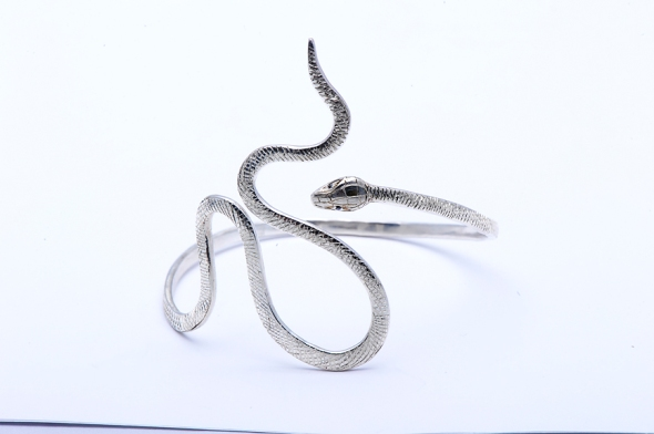 Hand forged and engraved silver snake bracelet by Peggy Skemp 2013