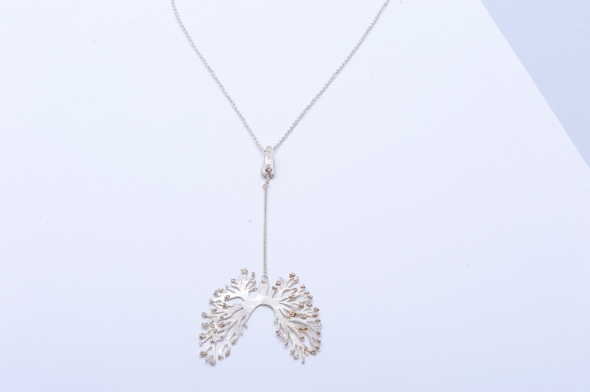 Lung neck necklace with alveoli granulation by Peggy Skemp 2013