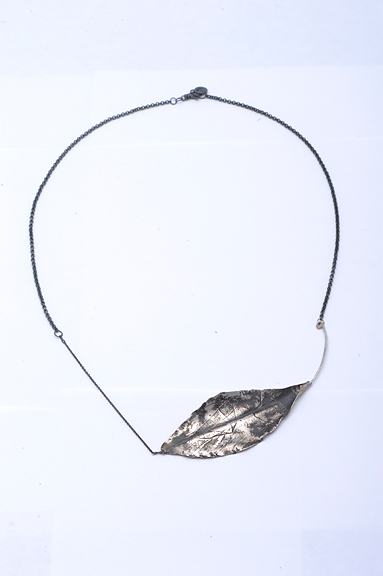 Silver Leaf necklace with oxidized chain by Peggy Skemp 2013.