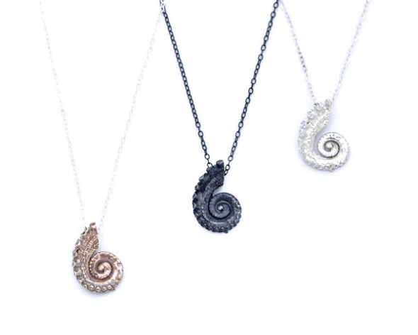Tiny tentacle coil necklaces.