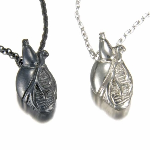 Small Silver Anatomical Heart Necklace
