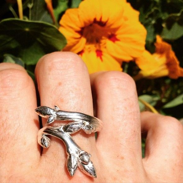 Adjustable silver oak sapling ring by Peggy Skemp 2015