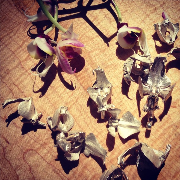 silver orchid castings from phalaenopsis flowers