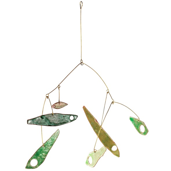 Mobile of green glass-enamelled fish. Copper, bronze and lead free glass enamel by Peggy Skemp, photo by Dhali Durly.